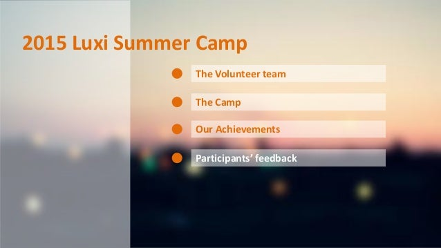 2015 Luxi Summer Camp The Volunteer team The Camp Our Achievements Participants' feedback