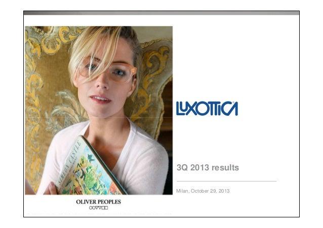 3Q 2013 results Milan, October 29, 2013