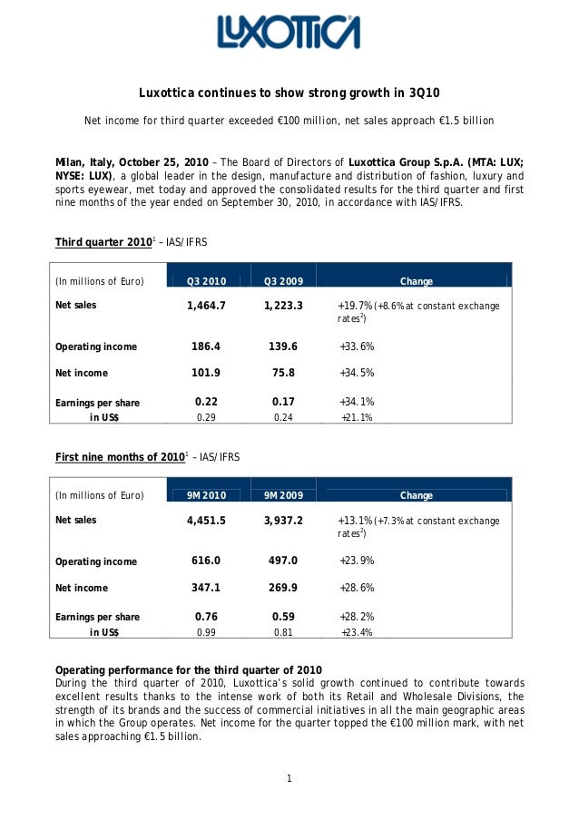 1 Luxottica continues to show strong growth in 3Q10 Net income for third quarter exceeded €100 million, net sales approach...