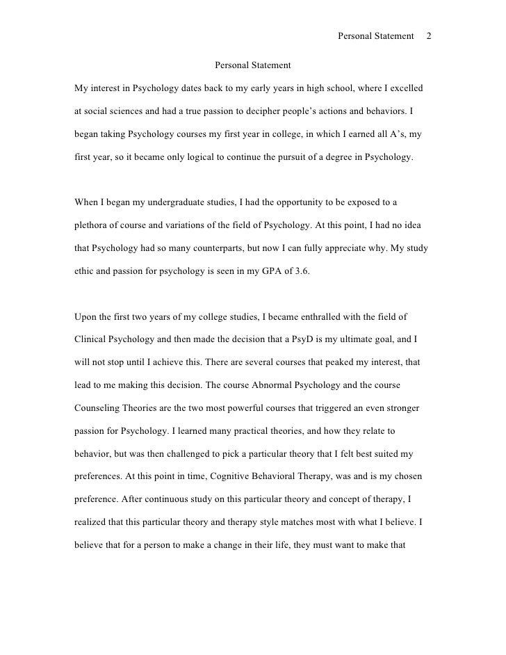 Clinical psychology grad school personal statement