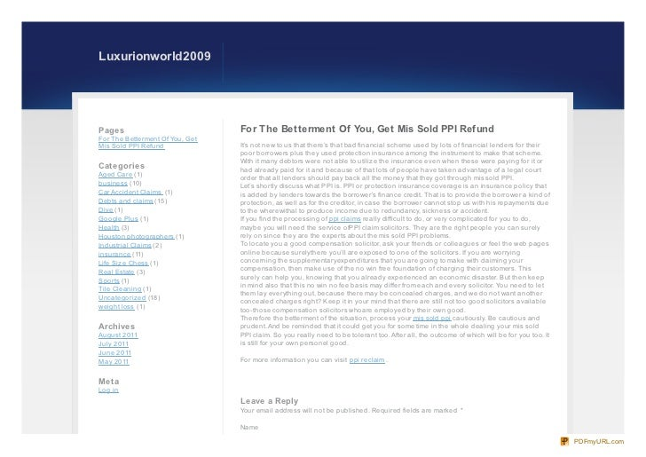 Luxurionworld2009Pages                            For The Betterment Of You, Get Mis Sold PPI RefundFor The Betterment Of ...