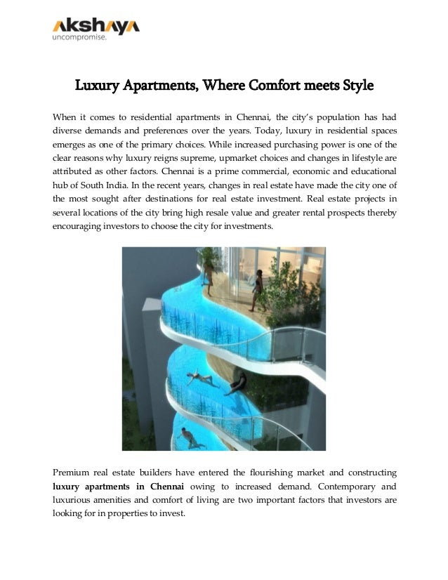 Luxury Apartments, Where Comfort meets Style When it comes to residential apartments in Chennai, the city's population has...