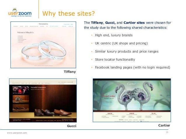 www.userzoom.com Why these sites? 10 Tiffany Gucci Cartier The Tiffany, Gucci, and Cartier sites were chosen for the study...