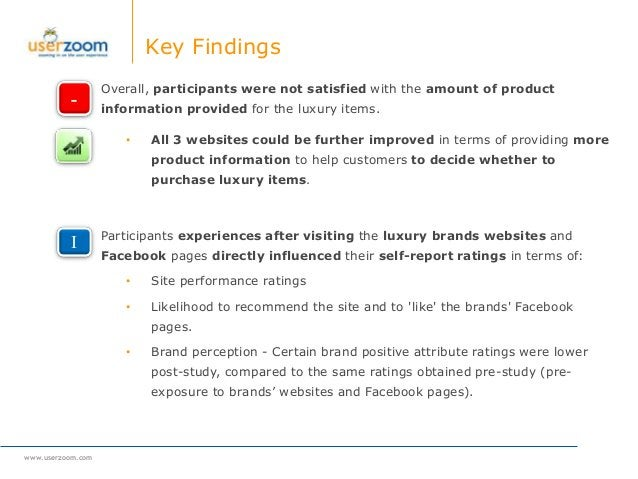 www.userzoom.com Key Findings Overall, participants were not satisfied with the amount of product information provided for...
