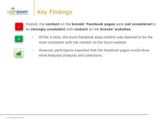 www.userzoom.com Key Findings Overall, the content on the brands' Facebook pages were not considered to be strongly consis...
