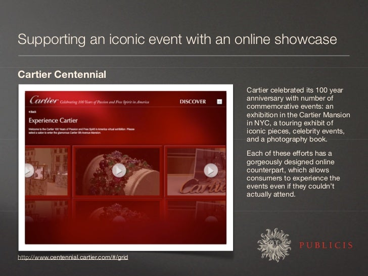 Supporting an iconic event with an online showcase  Cartier Centennial                                            Cartier ...