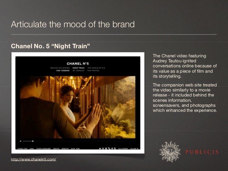 """Articulate the mood of the brand  Chanel No. 5 """"Night Train""""                                    The Chanel video featuring..."""