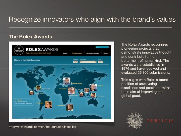Recognize innovators who align with the brand's values  The Rolex Awards                                                  ...