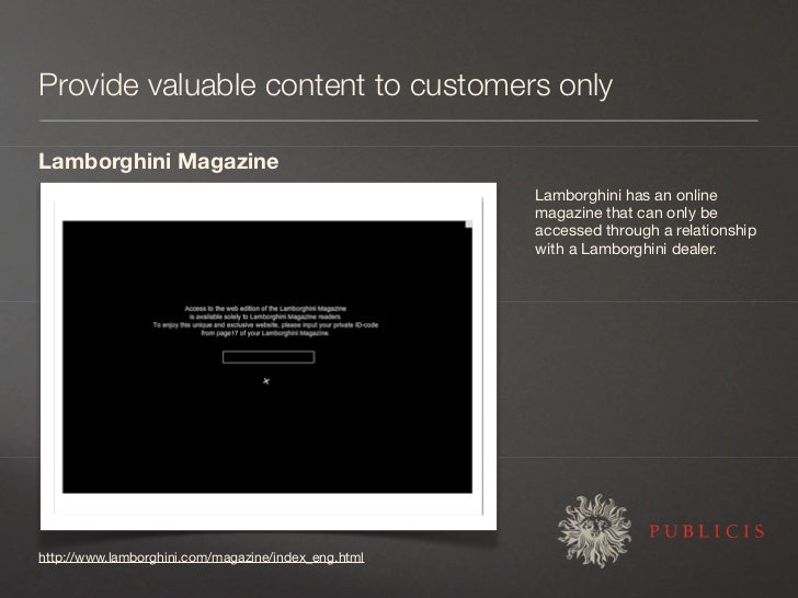 Provide valuable content to customers only  Lamborghini Magazine                                                      Lamb...
