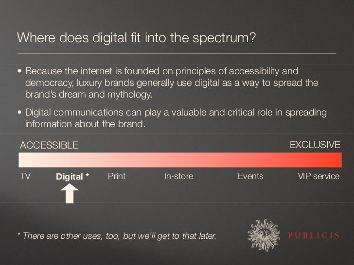 Where does digital fit into the spectrum?  • Because the internet is founded on principles of accessibility and   democracy...