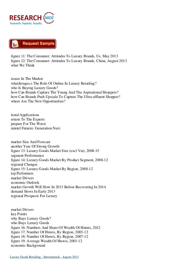 Luxury Goods International Retailing Market August 2013 Slide 2