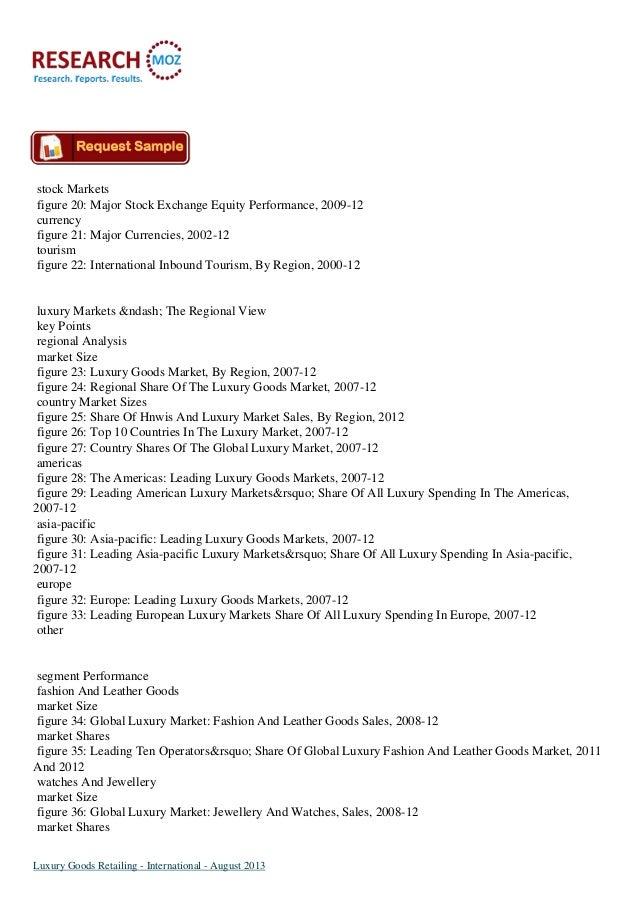 Luxury Goods International Retailing Market August 2013 Slide 3