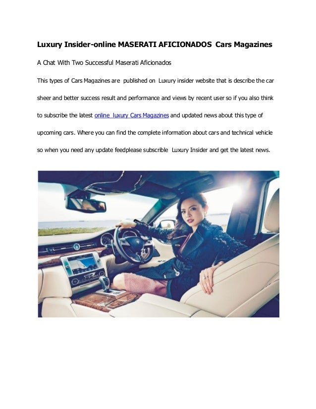 Luxury insider online cars magazines
