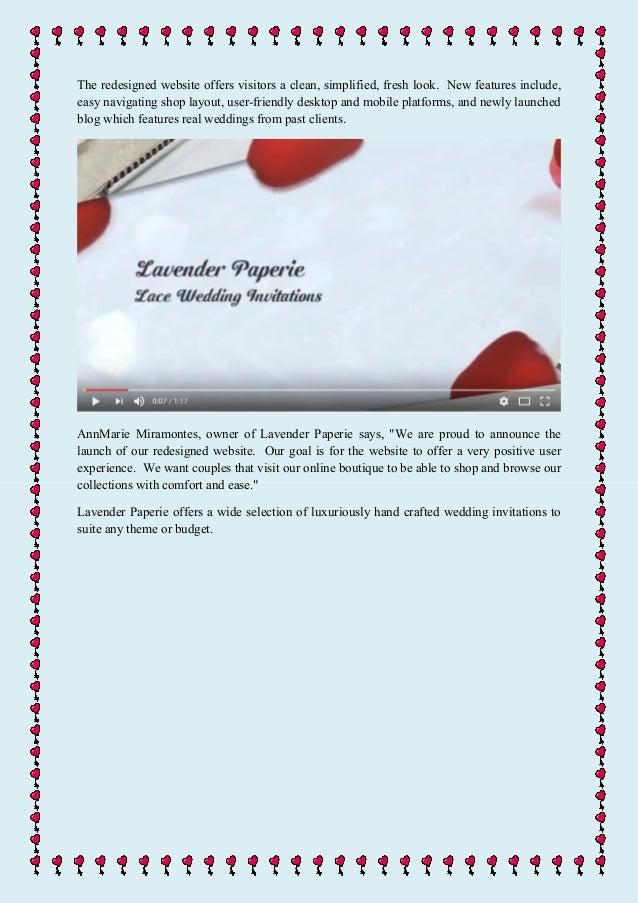 Luxury online wedding invitation boutique, lavender paperie, unveils …