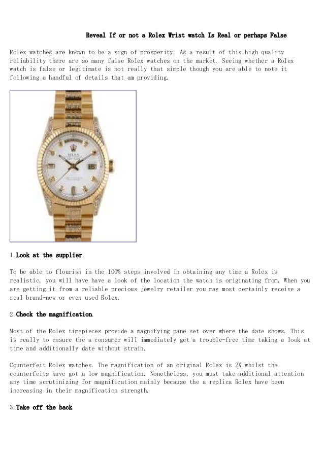 Reveal If or not a Rolex Wrist watch Is Real or perhaps False Rolex watches are known to be a sign of prosperity. As a res...