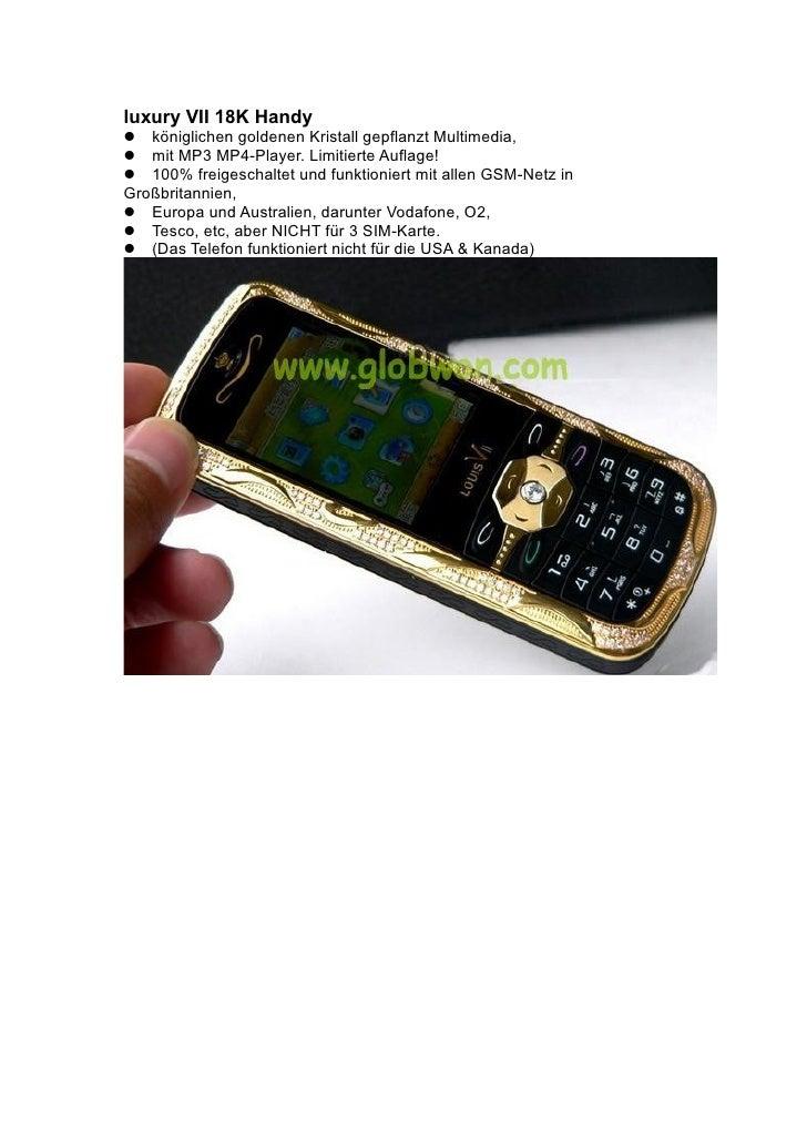luxury VII 18K Handy königlichen goldenen Kristall gepflanzt Multimedia, mit MP3 MP4-Player. Limitierte Auflage! 100...
