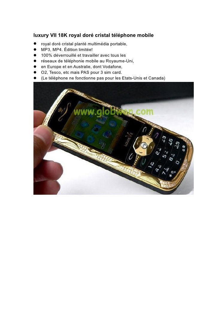 luxury VII 18K royal doré cristal téléphone mobile royal doré cristal planté multimédia portable, MP3, MP4. Édition li...