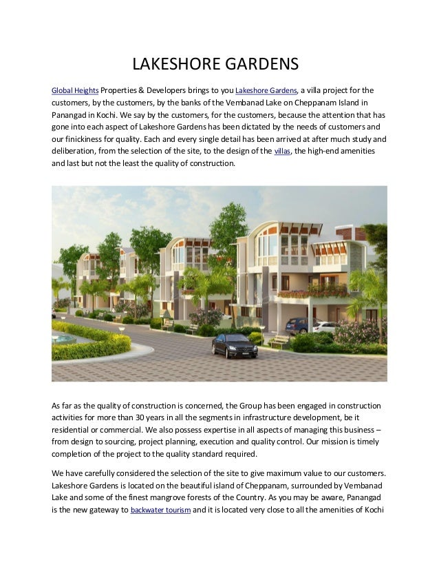 LAKESHORE GARDENS Global Heights Properties & Developers brings to you Lakeshore Gardens, a villa project for the  custome...