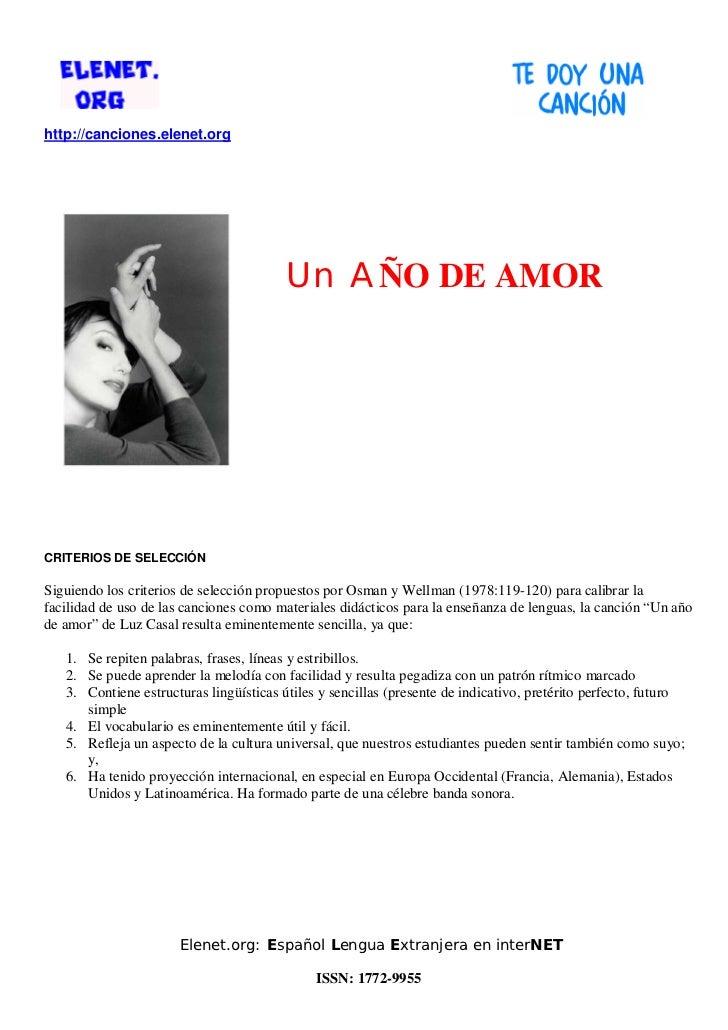 http://canciones.elenet.org                                         Un AÑO DE AMORCRITERIOS DE SELECCIÓNSiguiendo los crit...