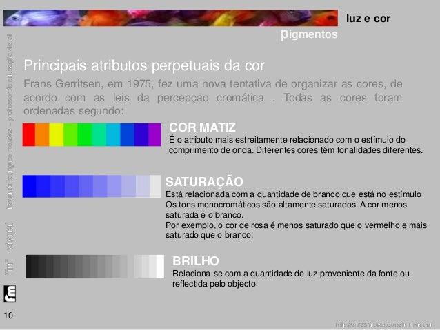 luz e cor  pigmentos  10  Principais atributos perpetuais da cor  Frans Gerritsen, em 1975, fez uma nova tentativa de orga...