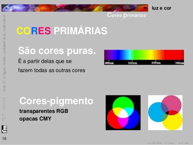 luz e cor  Cores primárias  16  CORES PRIMÁRIAS  São cores puras.  É a partir delas que se  fazem todas as outras cores.  ...