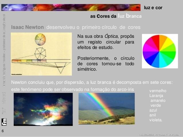 luz e cor  as cores da luz branca  6  Isaac Newton desenvolveu o primeiro círculo de cores  Na sua obra Óptica, propôs  um...