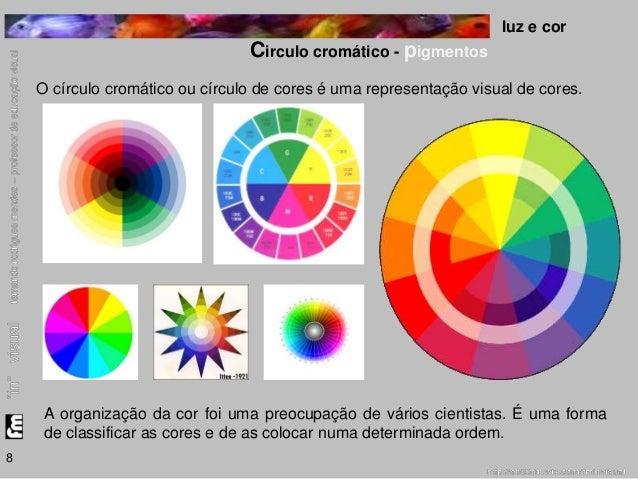 luz e cor  Circulo cromático - pigmentos  8  O círculo cromático ou círculo de cores é uma representação visual de cores. ...