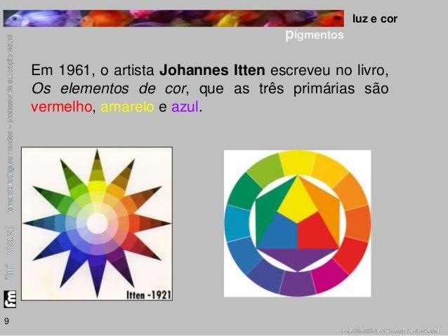luz e cor  pigmentos  9  Em 1961, o artista Johannes Itten escreveu no livro,  Os elementos de cor, que as três primárias ...