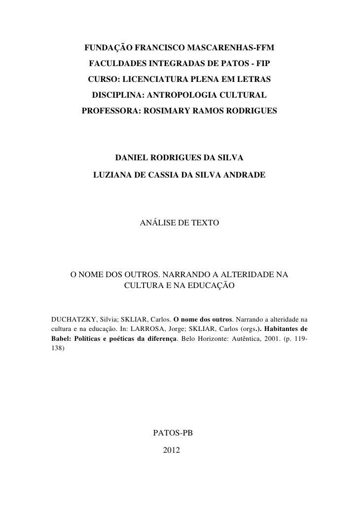 FUNDAÇÃO FRANCISCO MASCARENHAS-FFM            FACULDADES INTEGRADAS DE PATOS - FIP           CURSO: LICENCIATURA PLENA EM ...