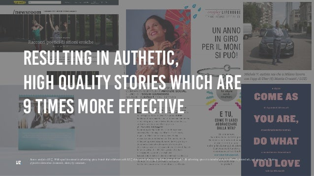 RESULTING IN AUTHETIC, HIGH QUALITY STORIES WHICH ARE 9 TIMES MORE EFFECTIVE Source: analytics LUZ. With equal investment ...
