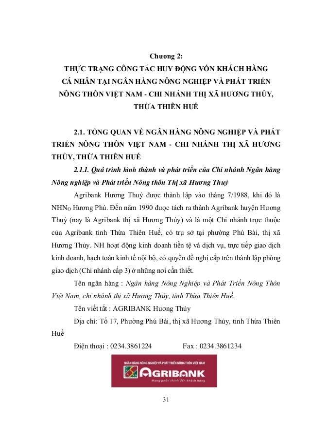 31 Chương 2: THỰC TRẠNG CÔNG TÁC HUY ĐỘNG VỐN KHÁCH HÀNG CÁ NHÂN TẠI NGÂN HÀNG NÔNG NGHIỆP VÀ PHÁT TRIỂN NÔNG THÔN VIỆT NA...