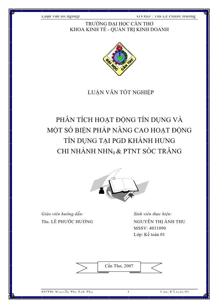 Luận văn tốt nghiệp                         GVHD : Ths Lê Phước Hương                   TRƯỜNG ĐẠI HỌC CẦN THƠ            ...