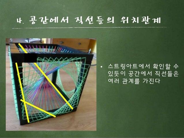4. 공간에서 직선들의 위치관계 • 스트링아트에서 확인할 수 있듯이 공간에서 직선들은 여러 관계를 가진다