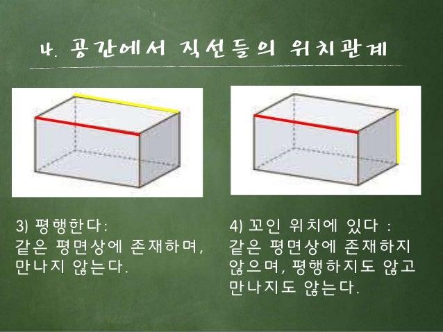 4. 공간에서 직선들의 위치관계 3) 평행한다: 같은 평면상에 존재하며, 만나지 않는다. 4) 꼬인 위치에 있다 : 같은 평면상에 존재하지 않으며, 평행하지도 않고 만나지도 않는다.