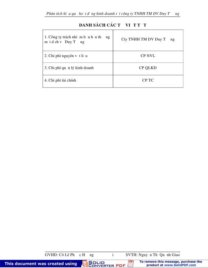 Phân tích hiệu quả hoạt động kinh doanh tại công ty TNHH TM DV Duy T ường                       DANH SÁCH CÁC TỪ VIẾT TẮT1...