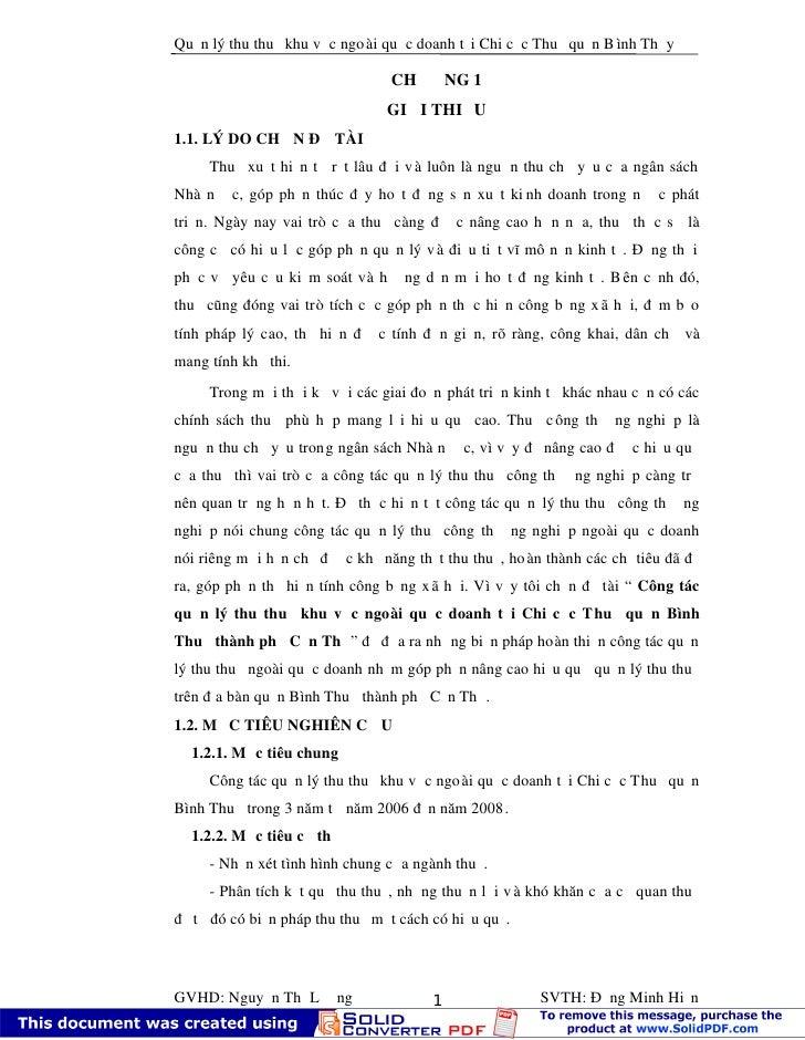 Quản lý thu thuế khu vực ngo ài quốc doanh tại Chi cục Thuế quận B ình Thủy                                 CHƯƠNG 1      ...