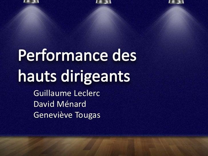 Guillaume LeclercDavid MénardGeneviève Tougas