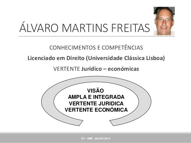 CONHECIMENTOS E COMPETÊNCIAS Licenciado em Direito (Universidade Clássica Lisboa) VERTENTE Jurídico – económicas VISÃO AMP...