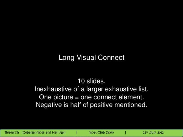 Long Visual Connect                                 10 slides.                  Inexhaustive of a larger exhaustive list. ...