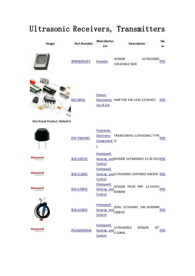 Ultrasonic Receivers, Transmitters -Sensors, Transducers - components…