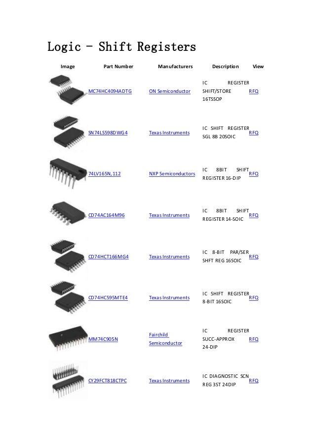 Logic - Shift Registers -Integrated Circuits (ICs