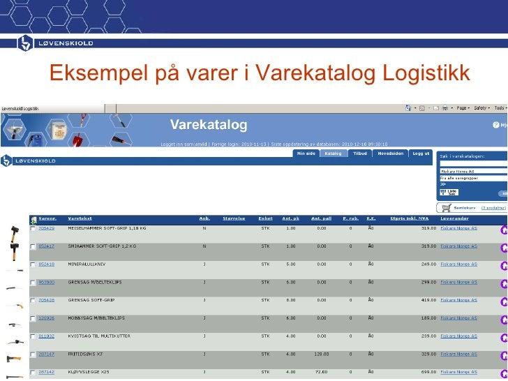 Eksempel på varer i Varekatalog Logistikk