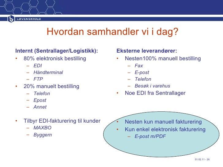 Hvordan samhandler vi i dag? <ul><li>Internt (Sentrallager/Logistikk): </li></ul><ul><li>80% elektronisk bestilling </li><...