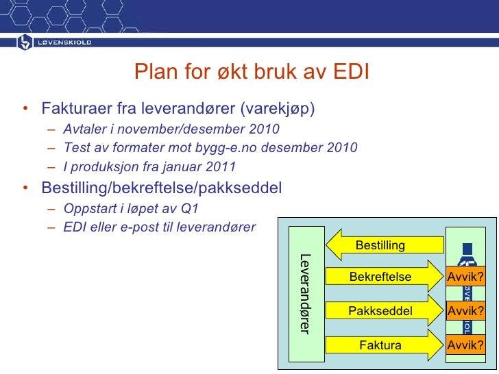 Plan for økt bruk av EDI <ul><li>Fakturaer fra leverandører (varekjøp) </li></ul><ul><ul><li>Avtaler i november/desember 2...