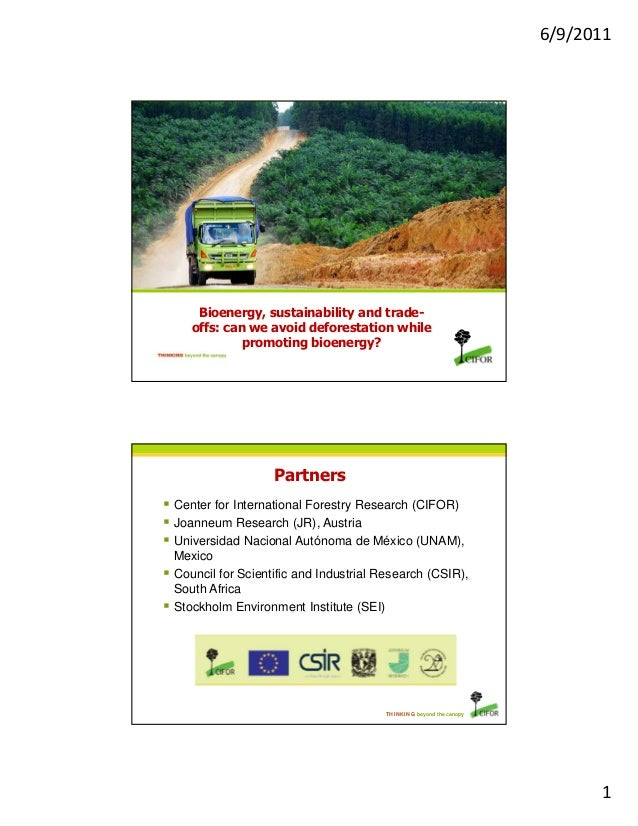 6/9/2011 1 THINKING beyond the canopy Bioenergy, sustainability and trade- offs: can we avoid deforestation while promotin...
