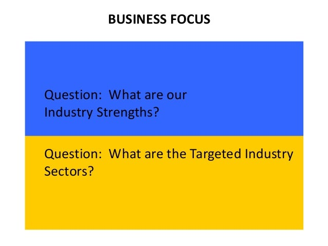 BUSINESS FOCUS Question: What are our Industry Strengths? Question: What are the Targeted Industry Sectors?