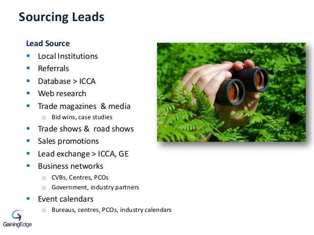 Sourcing Leads Lead Source  Local Institutions  Referrals  Database > ICCA  Web research  Trade magazines & media o B...