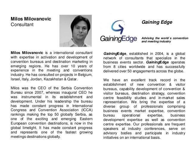 Milos Milovanovic Consultant Milos Milovanovic is a international consultant with expertise in activation and development ...