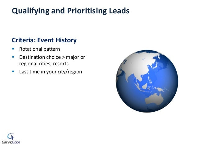 Qualifying and Prioritising Leads Criteria: Event History  Rotational pattern  Destination choice > major or regional ci...