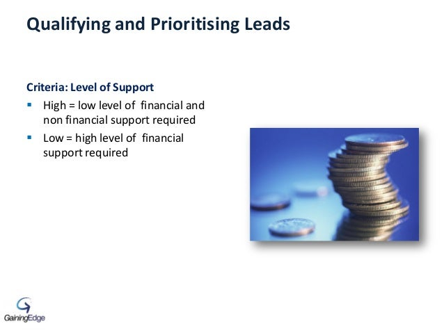 Qualifying and Prioritising Leads Criteria: Level of Support  High = low level of financial and non financial support req...